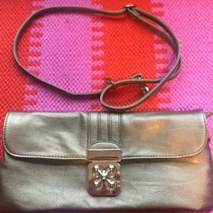 Gold clutch with adjustable strap